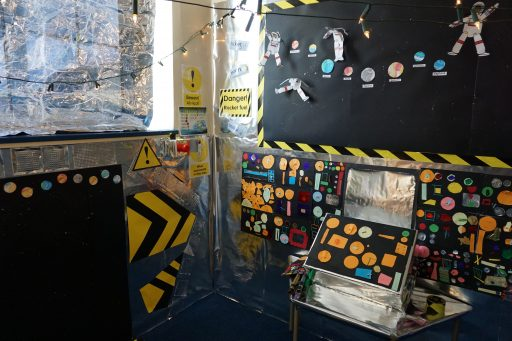 Topic area in Year 2 decorated as the control room of a space rocket